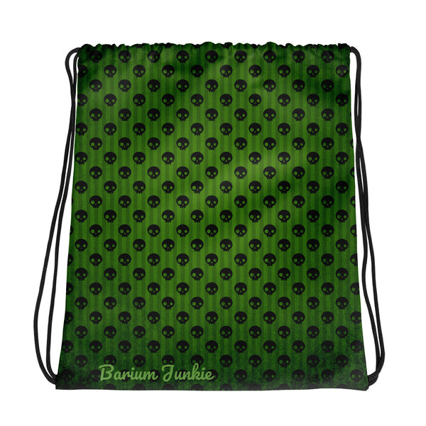 Green Skull Gothic Drawstring bag