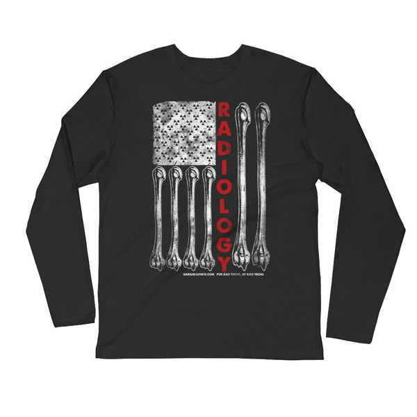 Uni-sex American Flag Long Sleeve Fitted Crew