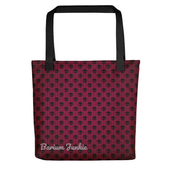 Black Skull Tote bag (Red Background)