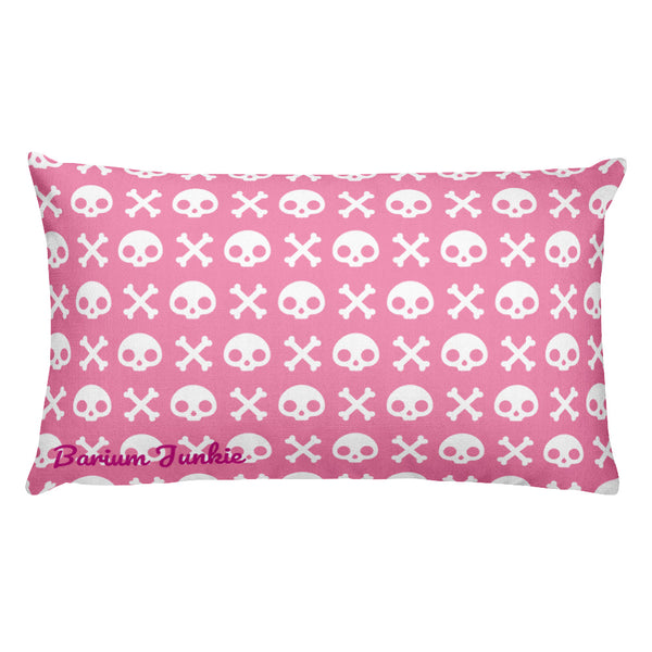 Skull & Crossbones Rectangular Pillow (Pink) #2