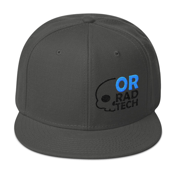 "Barium Junkie ""OR Rad Tech"" Dark Gray Blue and Black Snapback Hat"