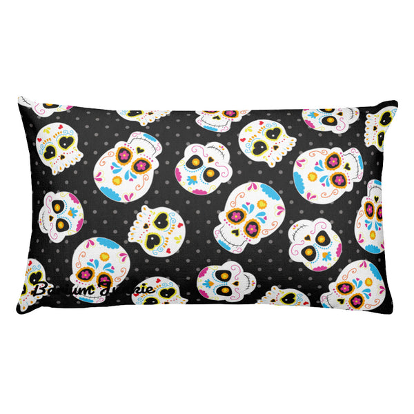 Sugar Skulls Rectangular Pillow (Black)