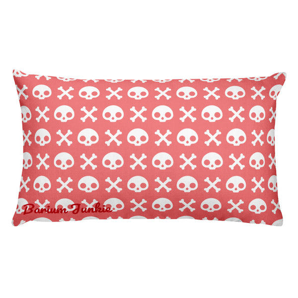 Skull & Crossbones Rectangular Pillow (Salmon)