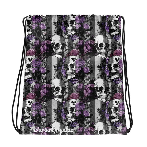 Purple Skulls Gothic Drawstring bag
