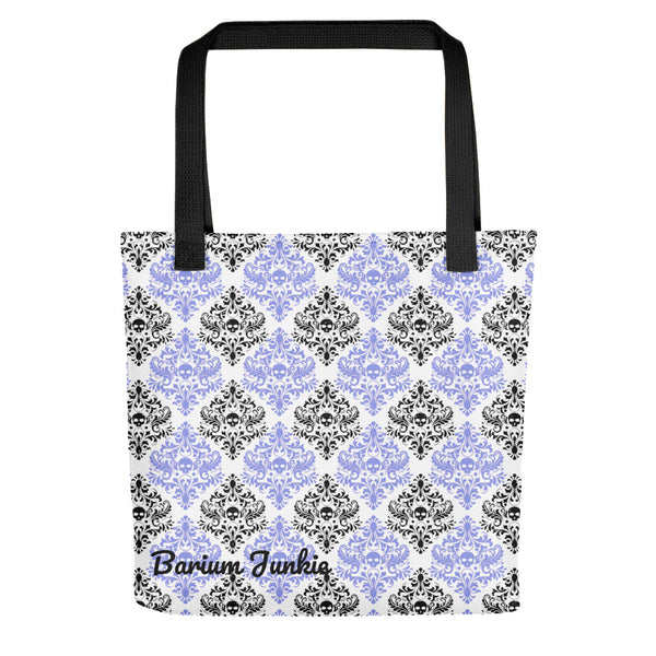 Black and Purple Skulls Gothic Tote bag (White Background)