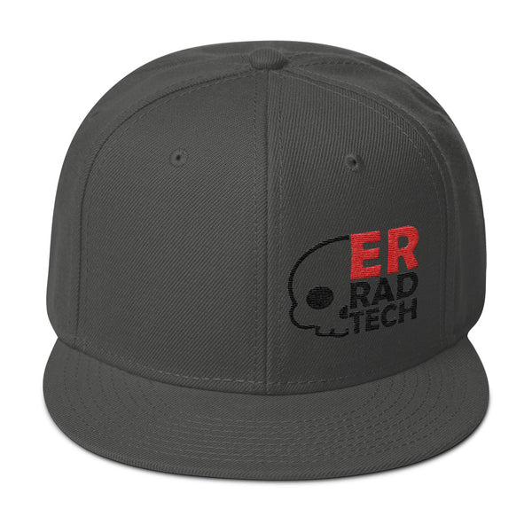 "Barium Junkie ""ER Rad Tech"" Dark Gray Red and Black Snapback Hat"
