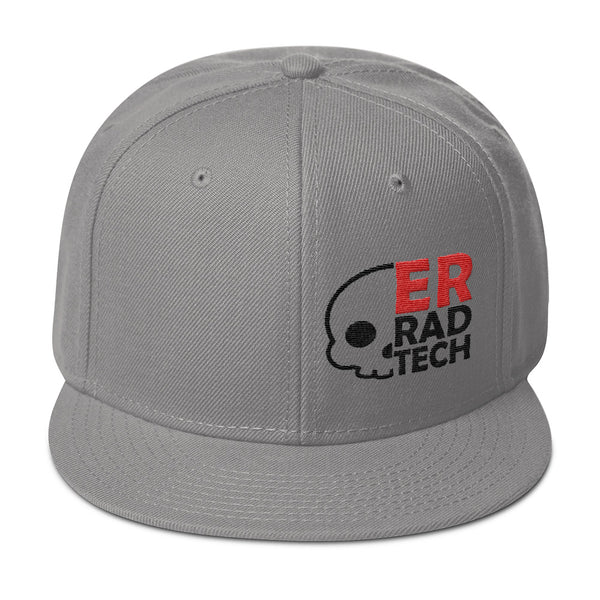 "Barium Junkie ""ER Rad Tech"" Gray Red and Black Snapback Hat"