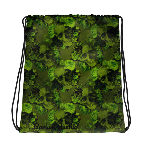 Green Skulls Drawstring bag