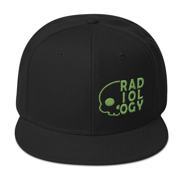 "Barium Junkie ""Radiology"" Black and Green Snapback Hat"