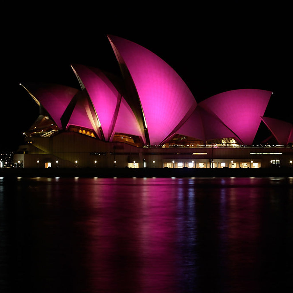 LEE dichroic glass filters light Sydney Opera House for Breast Cancer Awareness, 2009