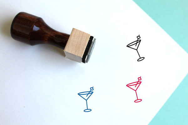 Cocktail Wooden Rubber Stamp