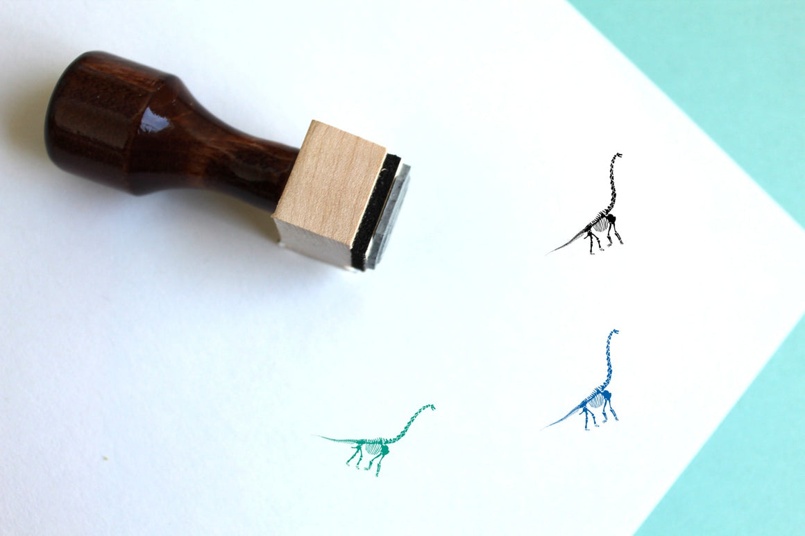 Diplodocus Skeleton Wooden Rubber Stamp