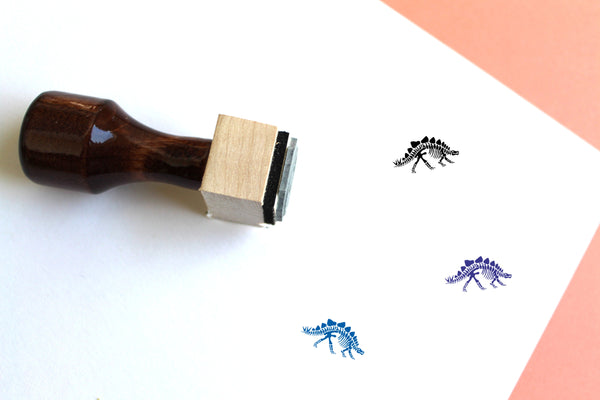 Stegosaurus Skeleton Wooden Rubber Stamp