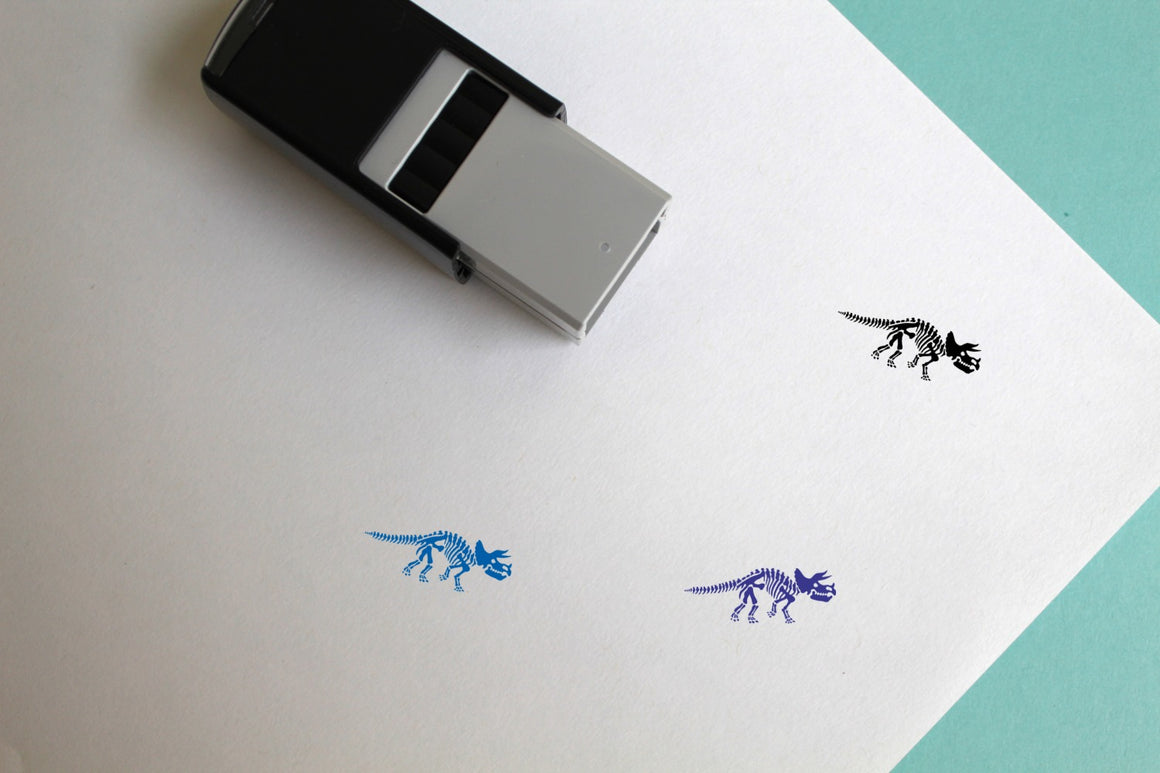 Triceratops Skeleton Self-Inking Rubber Stamp