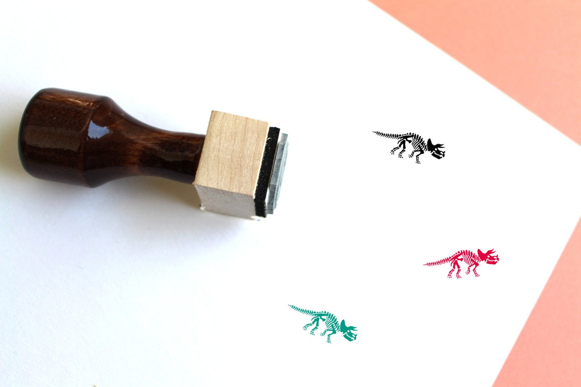 Triceratops Skeleton Wooden Rubber Stamp