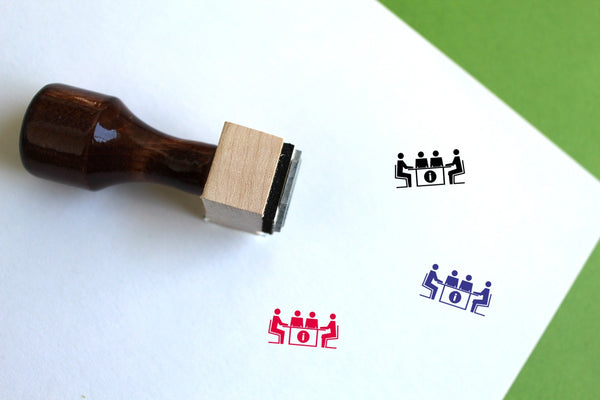 Meeting Wooden Rubber Stamp