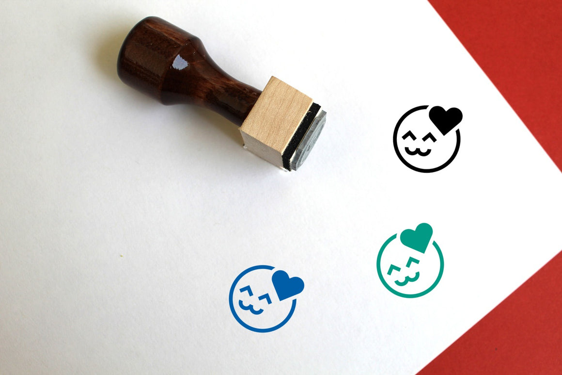 Happy Wooden Rubber Stamp