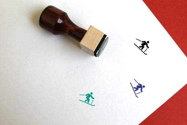 Skiing Wooden Rubber Stamp