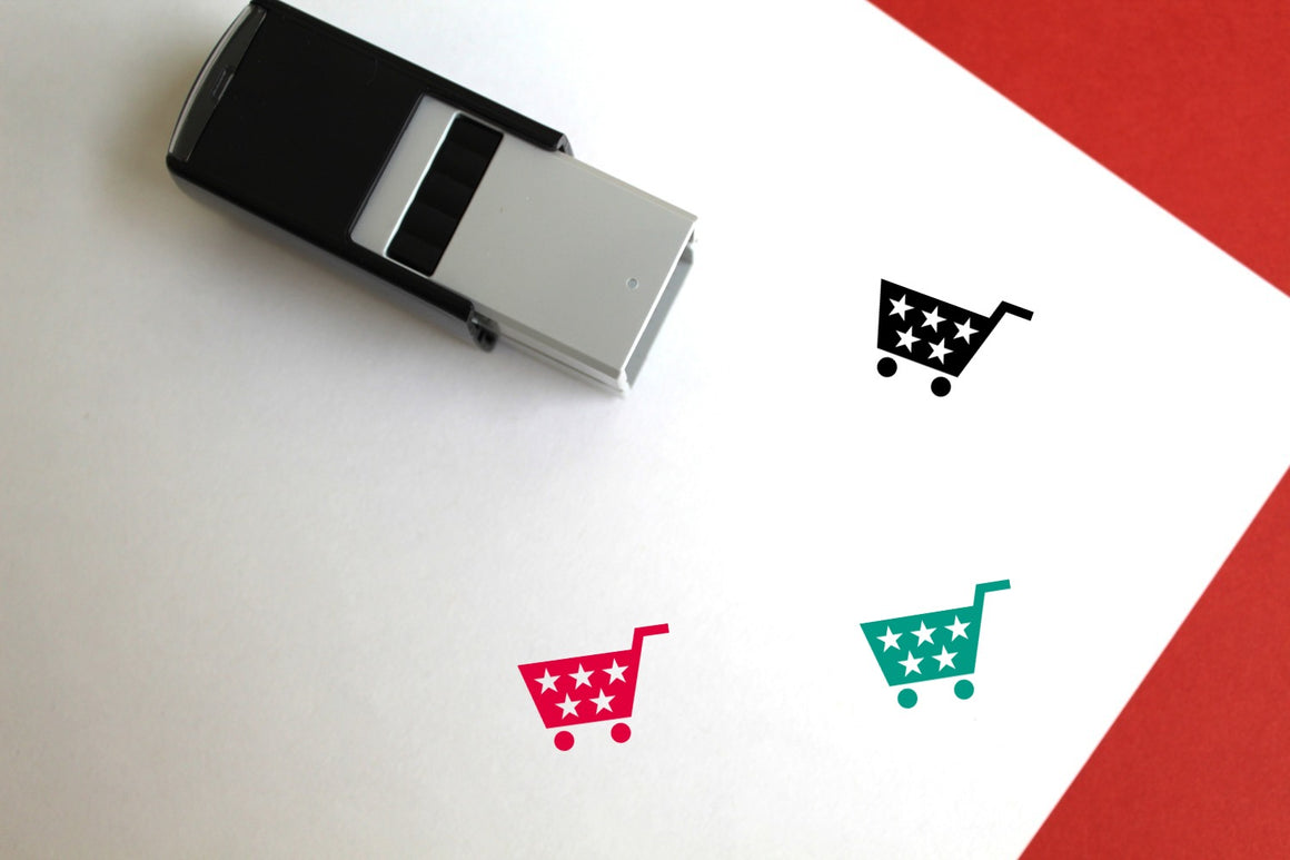Shopping Cart Self-Inking Rubber Stamp