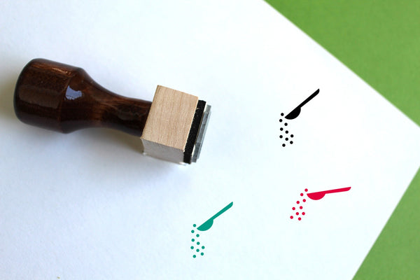 Spoon Wooden Rubber Stamp
