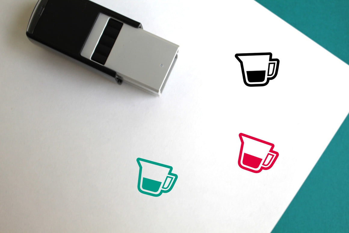 Measuring Cup Self-Inking Rubber Stamp