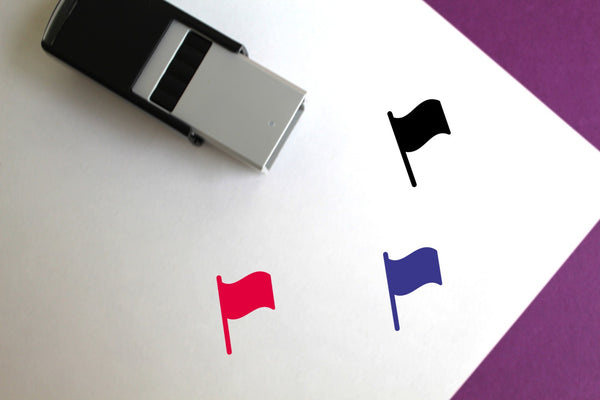 Flag Self-Inking Rubber Stamp