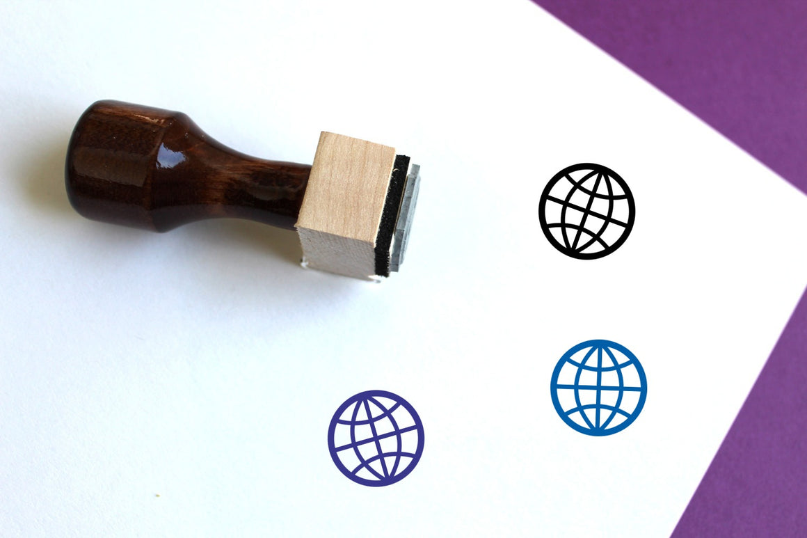 World Wooden Rubber Stamp