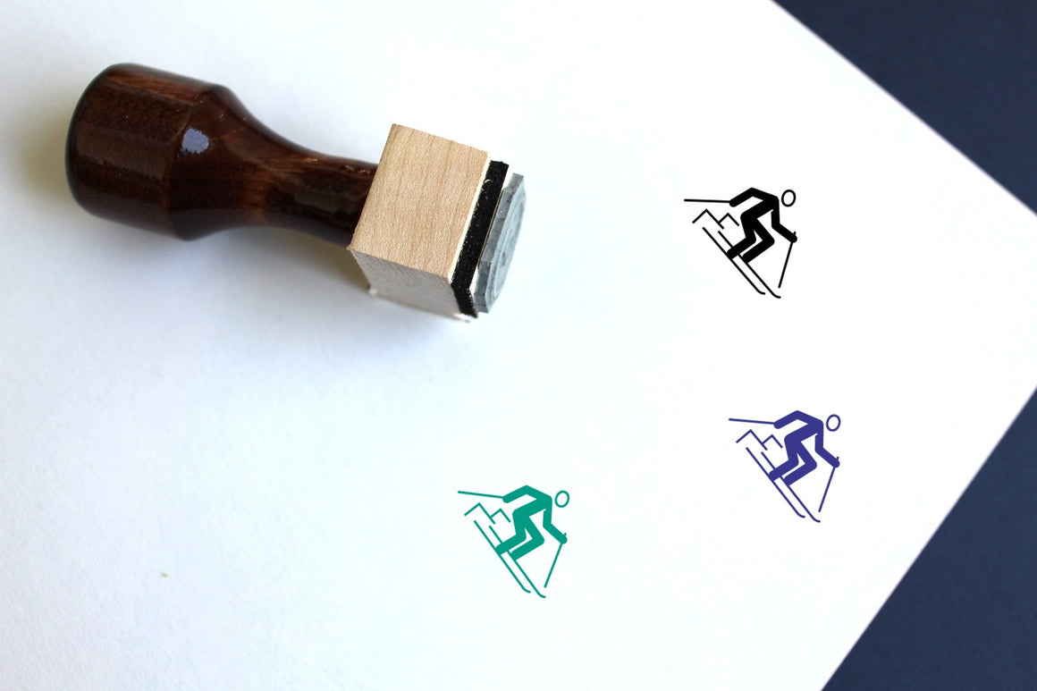 Slalom Wooden Rubber Stamp