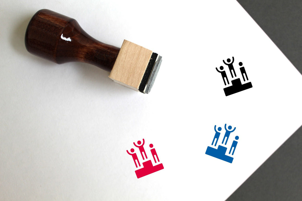 Podium Wooden Rubber Stamp