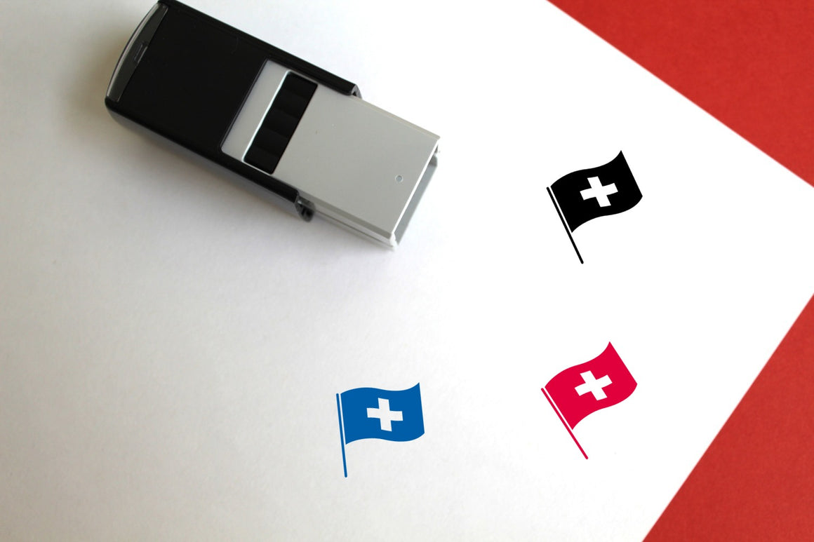 Swiss Flag Self-Inking Rubber Stamp