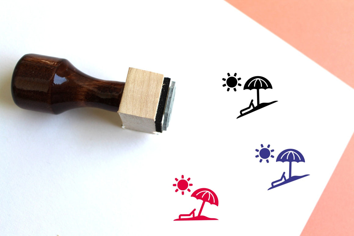 Beach Wooden Rubber Stamp