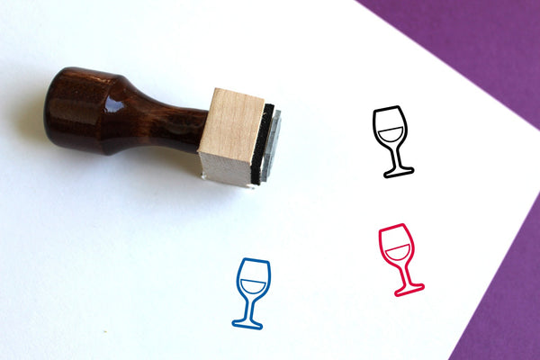 White Wine Wooden Rubber Stamp