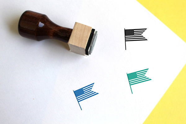 American Flag Wooden Rubber Stamp