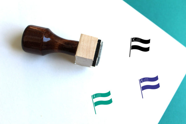 Flag Of Uzbekistan Wooden Rubber Stamp