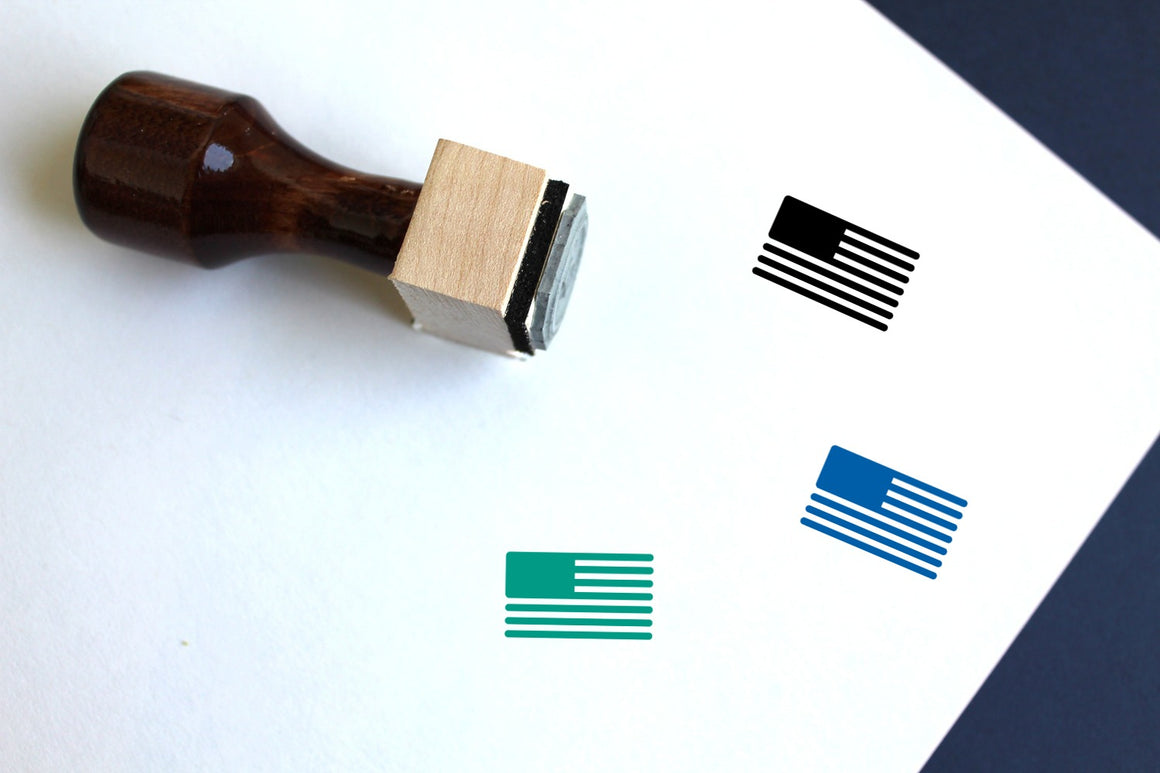 North American Flag Wooden Rubber Stamp