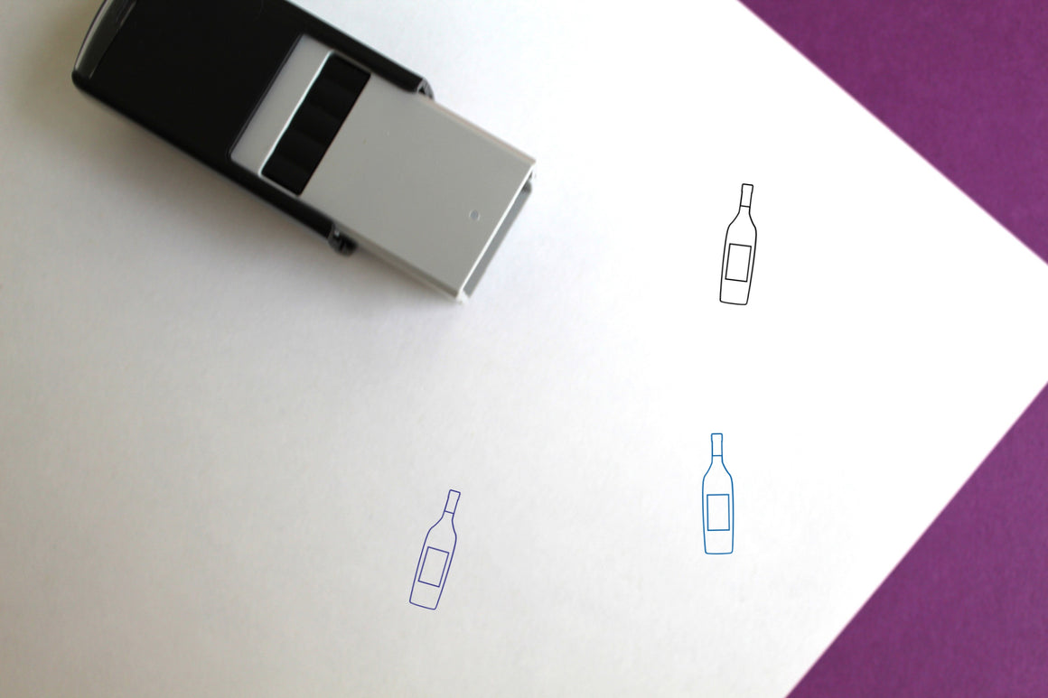 Wine Bottle Self-Inking Rubber Stamp