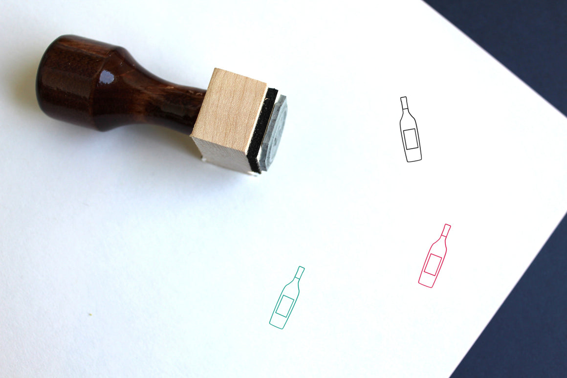 Wine Bottle Wooden Rubber Stamp