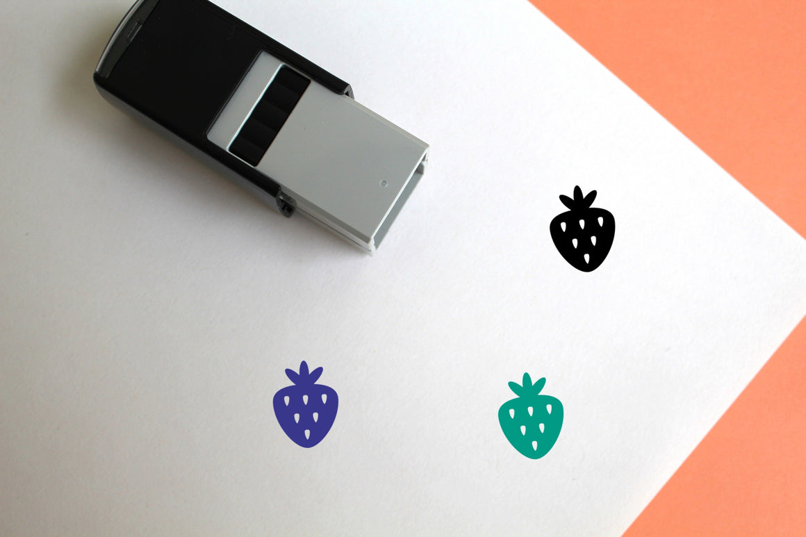 Strawberry Self-Inking Rubber Stamp