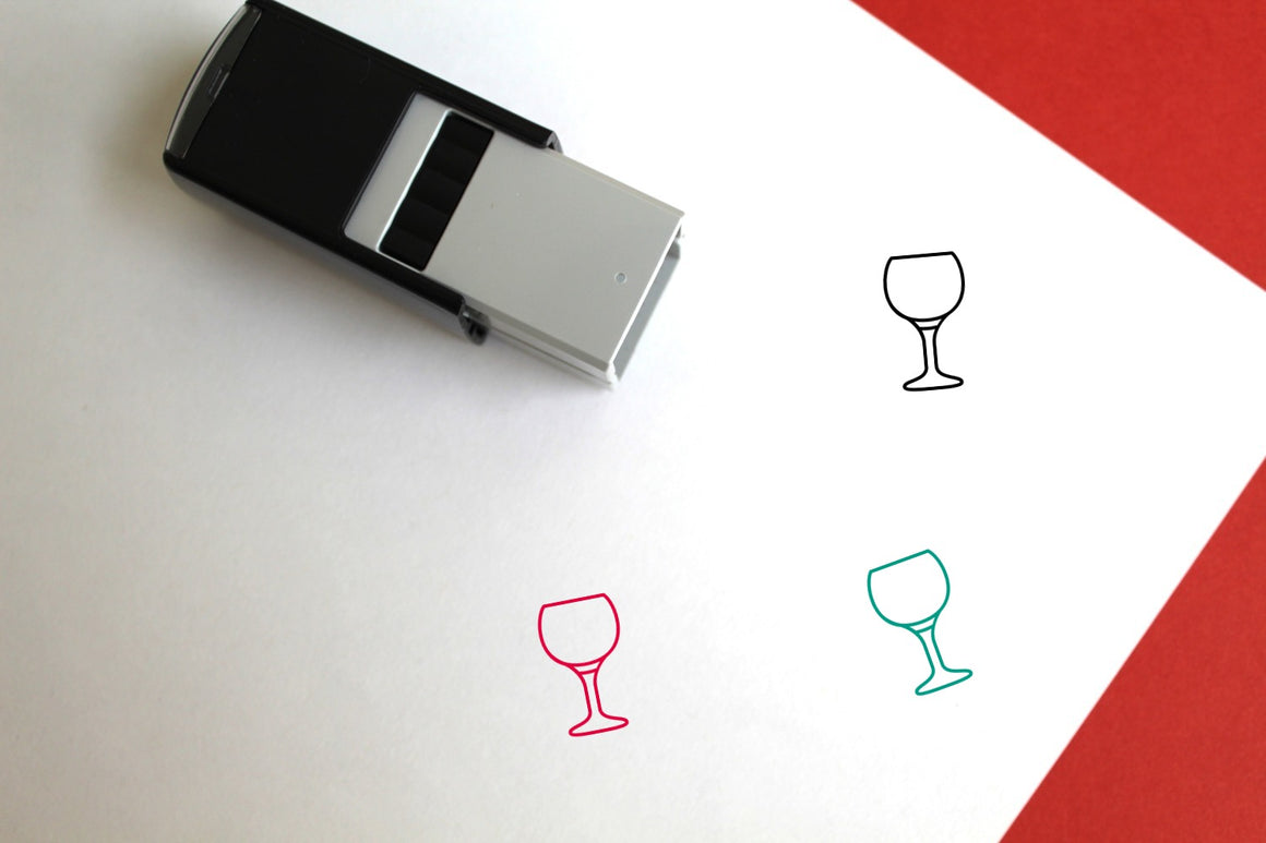 Red Wine Glass Self-Inking Rubber Stamp
