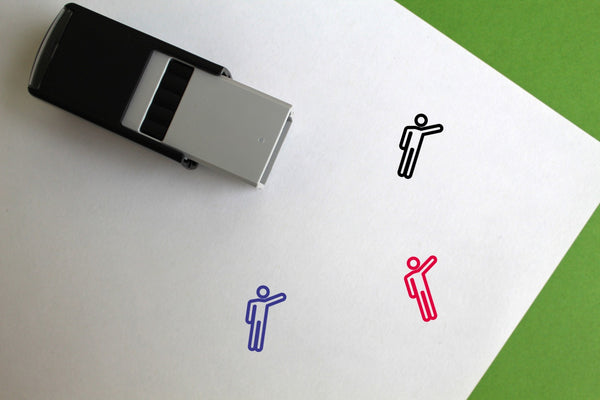 Person Waving Self-Inking Rubber Stamp