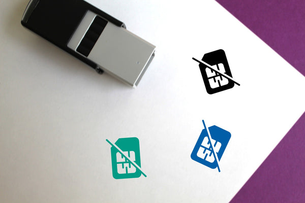No Sim Card Self-Inking Rubber Stamp