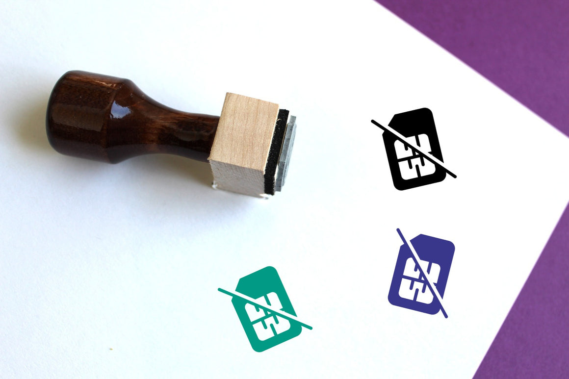 No Sim Card Wooden Rubber Stamp