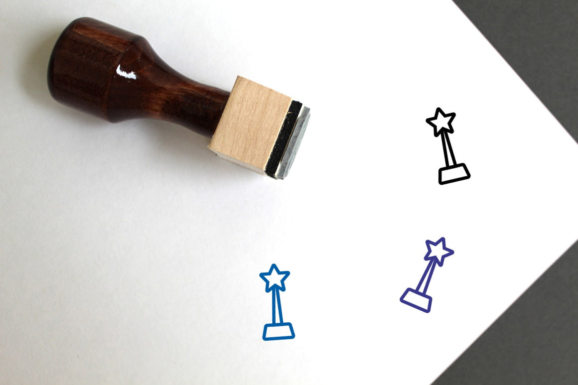 Trophy Wooden Rubber Stamp