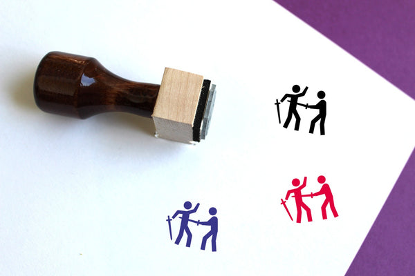 Sword Fight Wooden Rubber Stamp