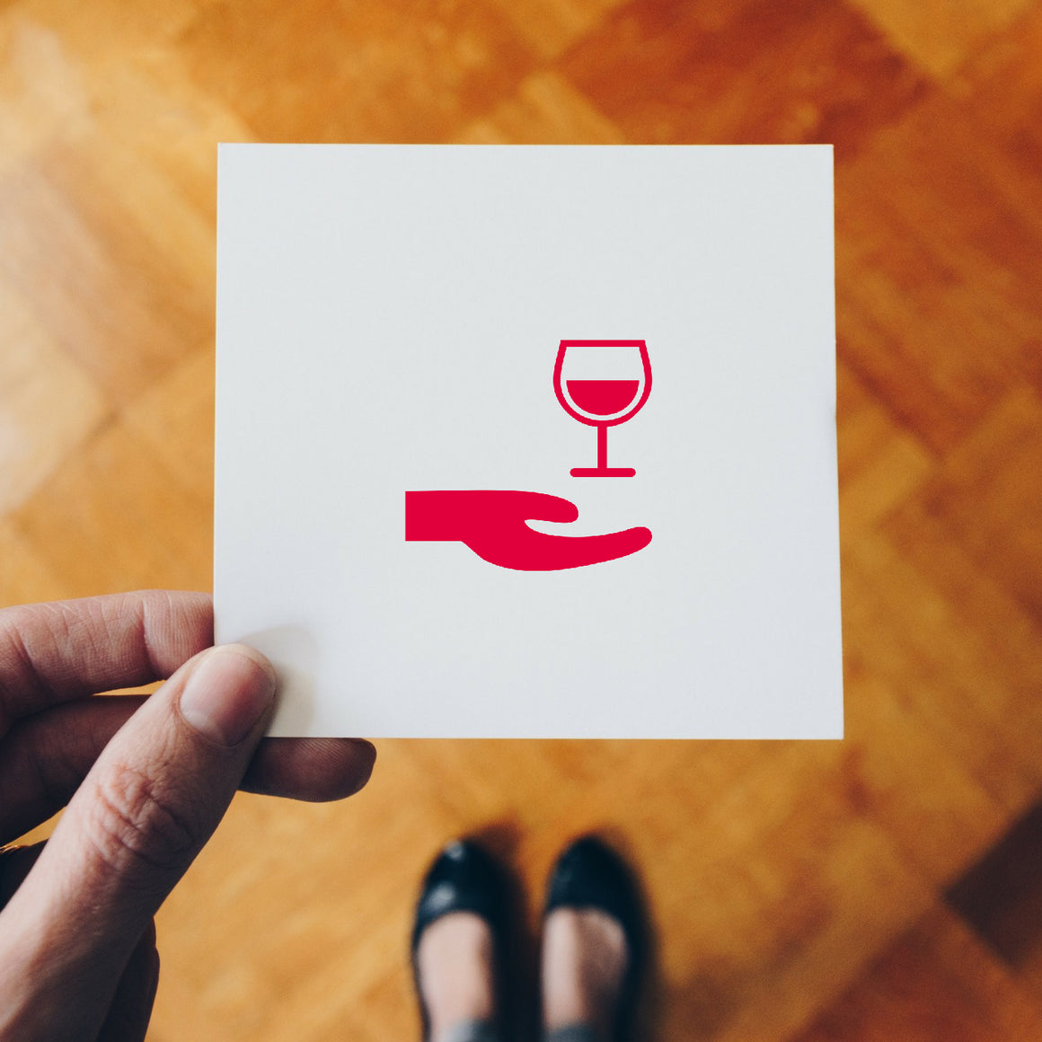 Ask Wine Rubber Stamp