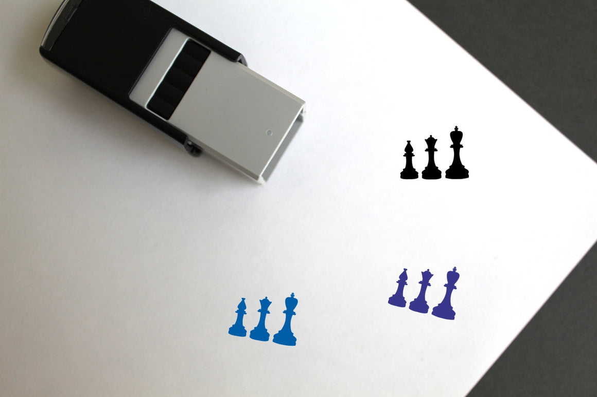 Chess Pieces Self-Inking Rubber Stamp