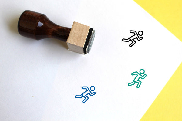 Runner Wooden Rubber Stamp