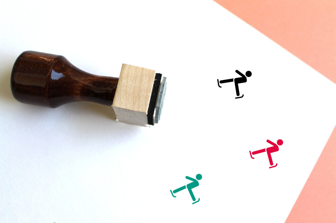 Ice Skating Wooden Rubber Stamp