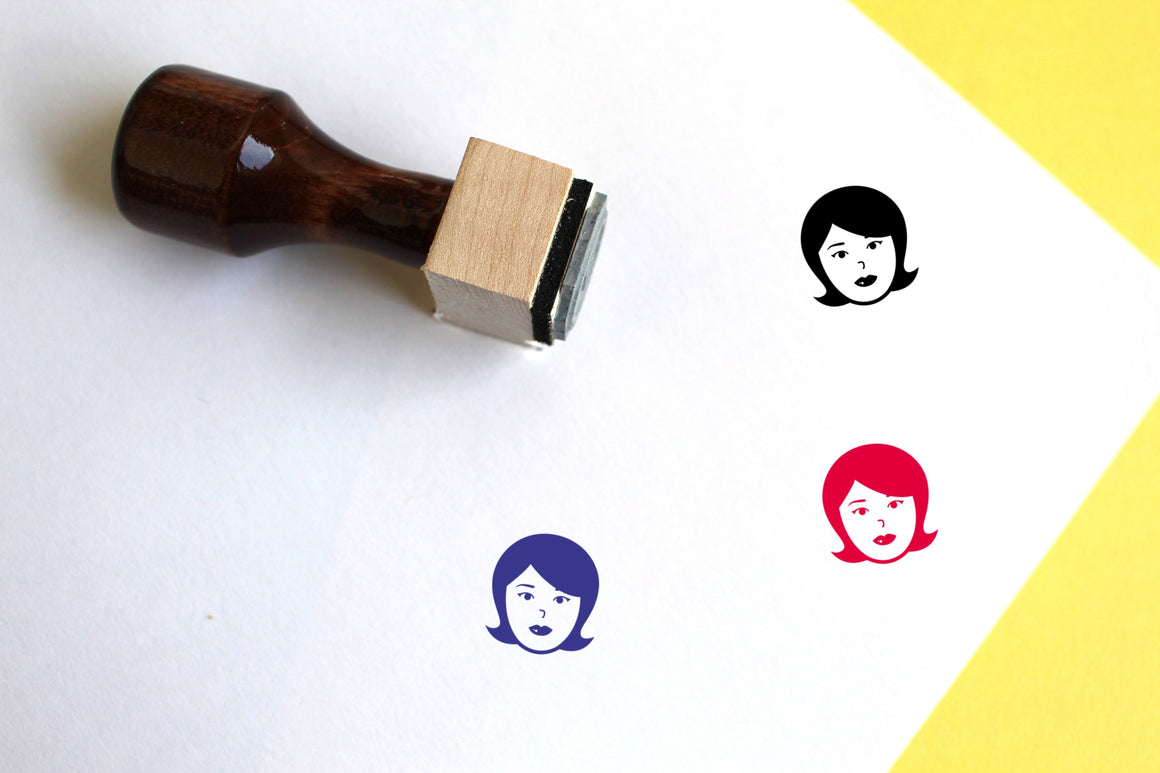 Woman Wooden Rubber Stamp