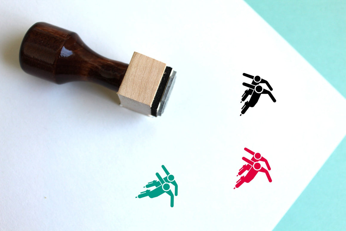 Speed Skating Wooden Rubber Stamp